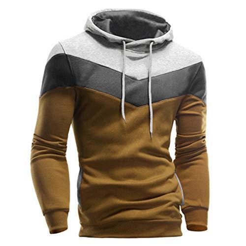 VECDY Herren Bluse,Räumungsverkauf-Herren Männer Winter Slim Hoodie Warm Pullover Sweatshirt mit Kapuze Mantel Outwear Lässiger Kapuzenpullover (46, O-Kaffee)