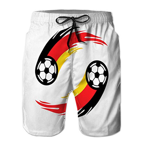 fgdhfgjhdgf Herren Boardshorts Badeanzüge Strandshorts Fußball oder Fußball mit Feuerschwanz in Deutscher Flagge L