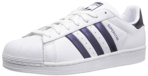 adidas Originals Women's Superstar Sneaker, White/Purple Night Metallic/White, 6.5