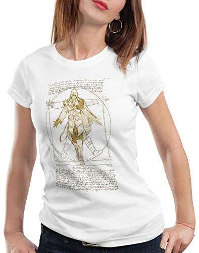 A.N.T. Nizarí de Vitruvio Camiseta para Mujer T-Shirt Desmond Miles, Color:Blanco, Talla:S