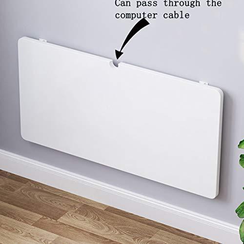 Weißer klappbarer hölzerner Wand-Tisch-Schreibtisch mit integriertem Blatt, integrierter, einfacher schwebender klappbarer Laptop-Schreibtisch, platzsparender Hängetisch für Arbeitszimmer, Schlafzim
