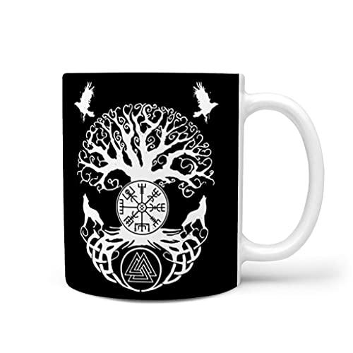 OwlOwlfan Taza de cerámica con mango para el hogar y la oficina de la familia y los amigos de Tree of Life Vikings con diseño de mito, color blanco 11 oz