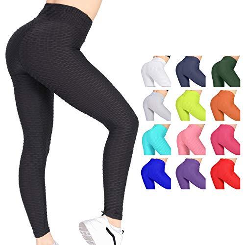 Women's High Waist Yoga Pants - Tummy Control Slimming Booty Leggings Workout Running Butt Lift Textured Tights Black
