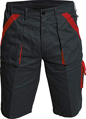 DINOZAVR Max Pantaloni Corti da Lavoro Uomo - Bermuda Pantaloncini Estivi Traspirante con Tasche Cargo - Nero/Rosso 58