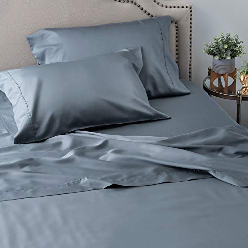Welhome Queen Size Cotton Tencel Sheet Set - 4 Piece - Soft & Smooth - Breathable - Durable - Deep Pocket - Easy Fit - Flint Blue