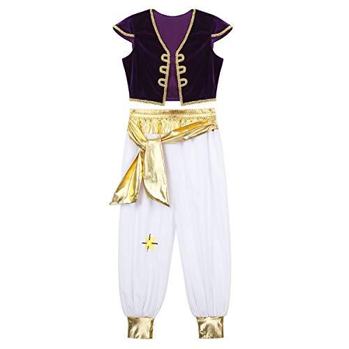 dPois Traje de Princípe Árabe para Niño Disfraz Halloween Navidad Carnaval Cosplay Chaleco Terciopelo Pantalones Cintura Dorada Disfraces Dress Up 4-12 Años Morado 4 Años