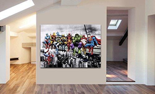 Marvel DC Comic Super Heroes - Lienzo enmarcado para pared, varios tamaños, blanco y negro, A2 24x16inch