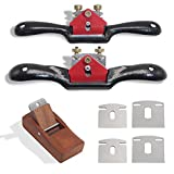 boeray 2pcs Adjustable SpokeShave with Flat Base, 6pcs Metal Blade and 1pcs Portable Woodworking Planes Wood Working Hand Tool Perfect for Wood Craft, Wood Craver, Wood Working