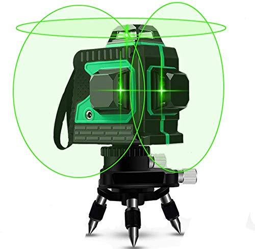 Nivel Láser, VANFLY 3X360° Nivel Láser Verde 25M líneas, cruzadas horizontales y verticales Línea de rayo láser verde IP54-12 lineas Nivel láser Autonivelación y Función de Pulso, Soporte Magnético