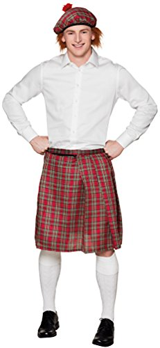 Karneval-Klamotten Kostüm Schottenrock rot kariert Herr Karneval Herrenkostüm Einheitsgröße