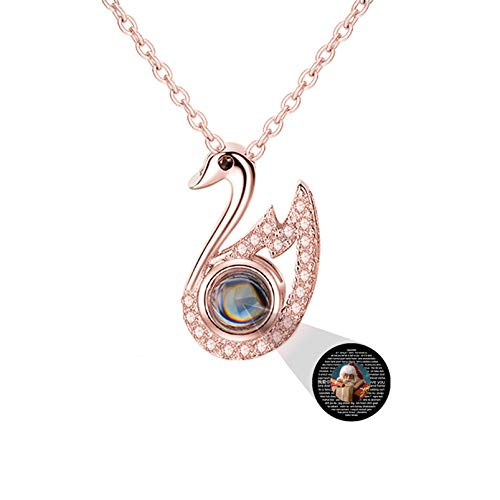 Personalized Projection Necklace Customized Photo Necklace 100 Language Necklace I LOVE YOU Memory Necklace Swan Pendant(Rose gold Full Color 22)