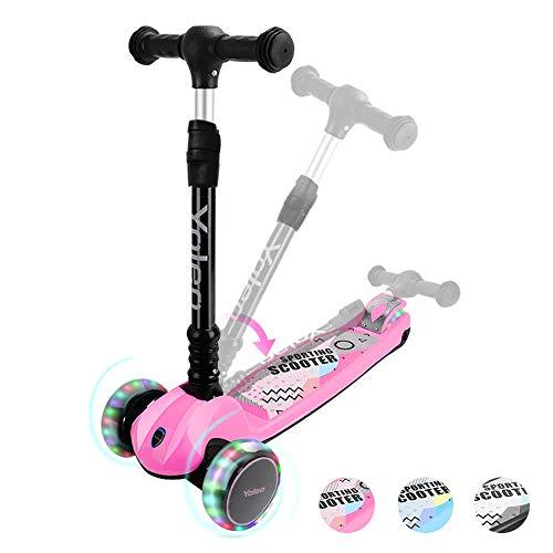 YOLEO Kinderoller Kinderscooter Dreiradscooter mit LED Räder, 2-Rädern Hinterbremsen,4 Höhenverstellbare, faltbar Lenker, 50kg belastbar, für Kleinkinder Jungen Mädchen, ab 3 Jahre (Rosa)