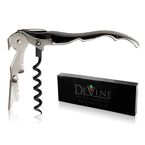 Devine Waiter Corkscrew – Professional Grade Handheld Wine Bottle Opener with Metallic Handle Double Hinged Lever and Foil Cutter  by DeVine Accessories
