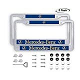 2PCS Car License Plate Frames for Mercedes Benz, Luxury Matte Silver Aluminum Alloy License Plate Frame Covers with Screws Caps Set for Mercedes Benz