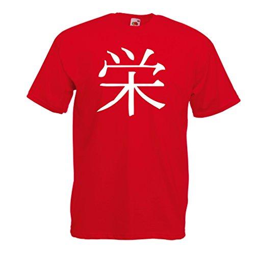 lepni.me Camisetas Hombre Insignia de Prosperidad - Símbolo de Kanji Chino/Japonés (X-Large Rojo Blanco)