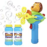 Bubble Gun Blower for Kids - Non-Toxic Bubble Blower with 2 Bubble Solutions - Mini Hand-Held Machine with 4 Wands for Blowing Bubbles - Bubble Toys for Parties, Camping, Outdoor Activities