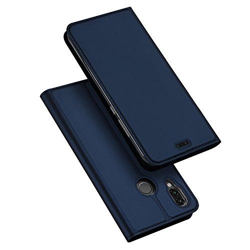 DUX DUCIS Hülle für Huawei P20 Lite, Leder Klappbar Handyhülle Schutzhülle Tasche Hülle mit [Kartenfach] [Standfunktion] [Magnetisch] für Huawei P20 Lite (Blau)