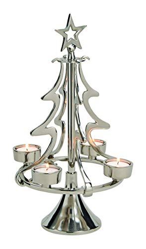 GW GmbH Teelichthalter Aluminium Tannenbaum Silber groß Kerzenhalter modern ausgefallen Weihnachten Weihnachtsdeko Deko schlicht Windlicht Adventskranz