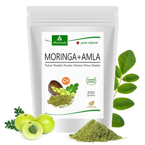 MoriVeda® Moringa + proszek amla 250 g I Moringa wysoka dawka – bomba witaminowa z amlajagodami dla układu odpornościowego i trawienia I najwyższa jakość Ayurveda I wegańska i bezglutenowa I 1 x 250 g