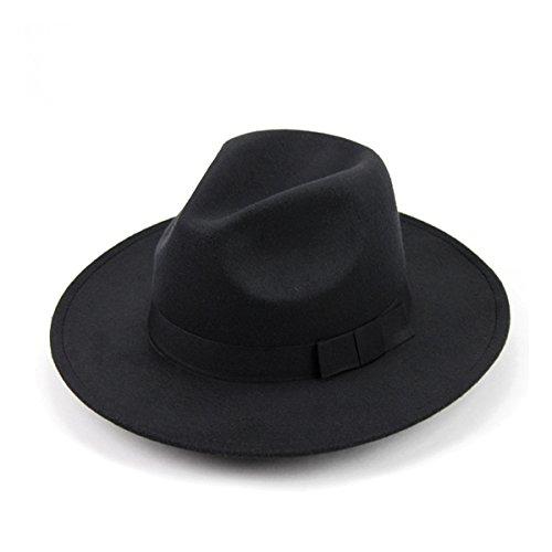 OULII Cappello Unisex Classico Fedora Cappello da Sole Cappello da Sole per Uomo Donna (Nero)