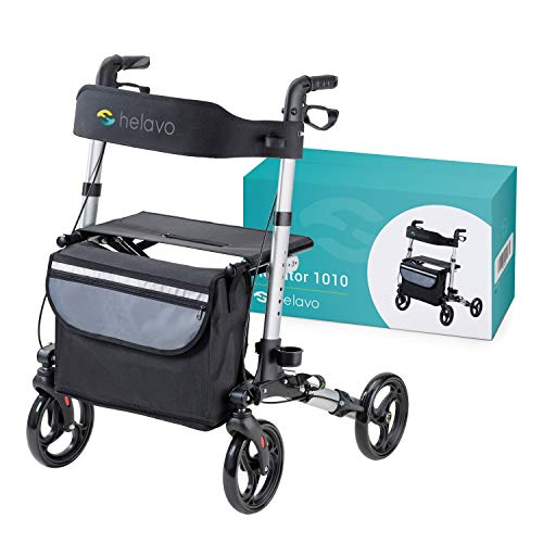 HELAVO folding walker with 4 wheels and seat - lightweight rollator walking frame