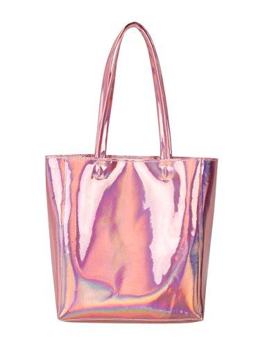 Choies Damen Handtasche Hologramm PU Shopper Taschen Casual Laser Henkeltasche Schultertasche Rosa