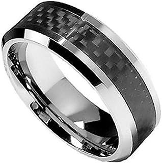 Carbide Engagement Ring With Black Carbon Fiber For Men-11.5Us