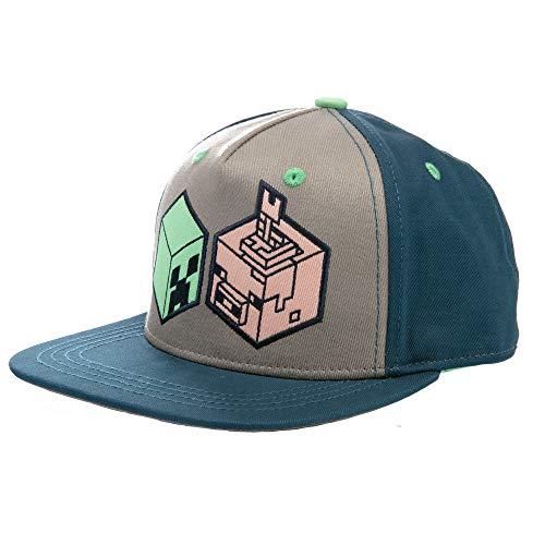 JINX Minecraft Earth Creeper and Pig Head Snapback Baseball Hat, Navy/Gray, Youth Fit