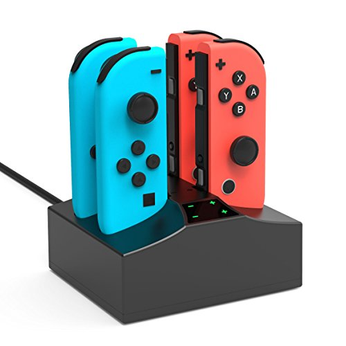 Nintendo Switch Charger Charging Station, YCCSKY 4 in 1 Nintendo Switch Joycon Controller Charger Charging Dock Stand with Type C Charging Cable