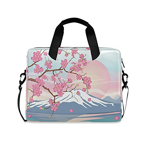 Japanese Cherry Sakura Mount Fuji 15.6-Inch Laptop Computer and Tablet Shoulder Bag Carrying Case