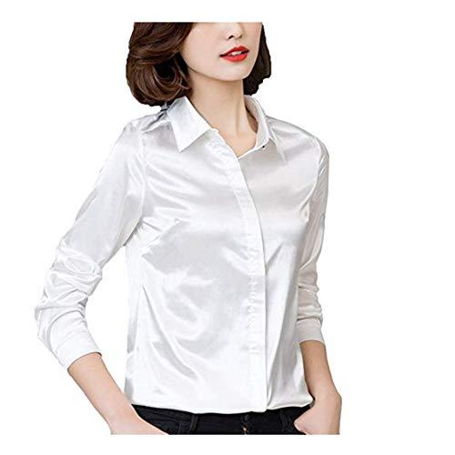 YOUMU Damen Satin Seide Langarm Button-down Hemd Formelle Arbeit Seidige Bluse Top (Weiß, EU M(Etikett XL)/ Büste: 38,6