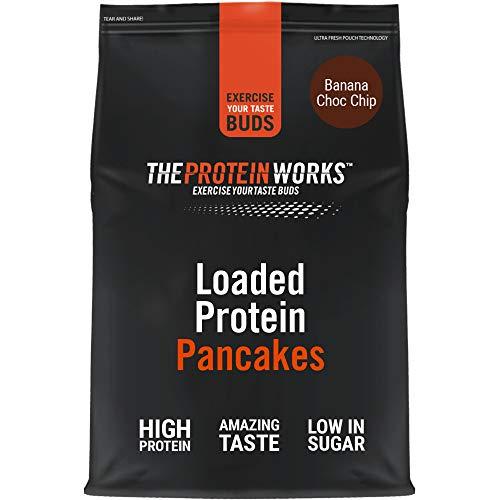 Preparato Per Pancake Proteici | Colazione Ad Alto Contenuto Proteico | Snack A Basso Contenuto Di Zucchero | Facile e Veloce da Realizzare | Banana e Gocce di Cioccolato | THE PROTEIN WORKS | 500g