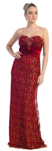Big Sale Strapless Formal Prom Dress Jr Long Evening Gown #7017 (12, Red)