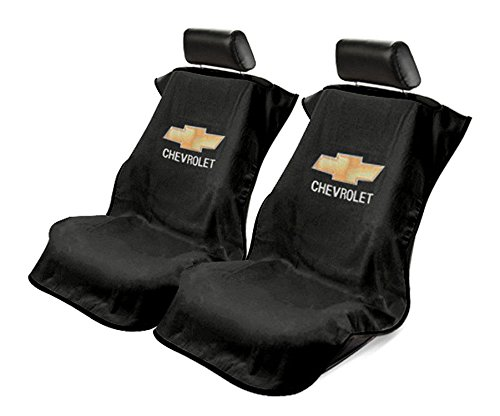 Seat Armour 2 Piece Front Car Seat Covers for Chevrolet - Black Terry Cloth
