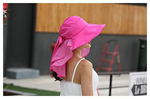 yqs Sombrero para el Sol de Mujer Sombreros de Sol con protección de Cuello en la Cara para Las Mujeres a Nivel Ancho Visor de Verano Caps Anti-UV al Aire Libre (Color : Rose Red)