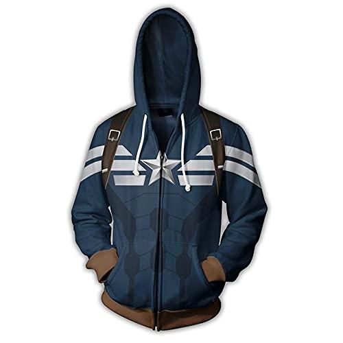 ukukuk Herren Hoodie Captain America 3D Print Jacke Sportswear Hoody Casual Sweatshirt Mode Pullover Unisex Zipper Mantel style-1-3XL