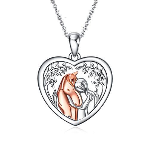 YFN 925 Sterling Silber Pferd Anhänger Halskette Mädchen Umarmung Pferd Geschenk für Mädchen Jungen Pferdeliebhaber (Rosenpferd mit Baumkette)