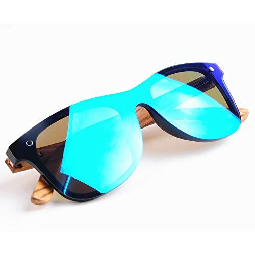 Picobao Gafas de Sol Glasses Gafas de Sol para Pareja TAC Lentes polarizadas integradas Gafas de Sol de Madera y bambú Regalo para Amigos y Familiares (Color : Ice Blue+Zebra)