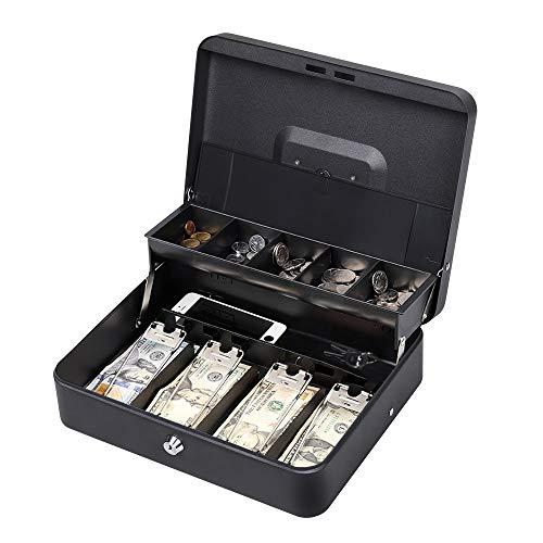 Haitral, Geldkassette, doppellagig, mit 2 Schlüsseln für Geldkassette, mit Münzfach, Schwarz