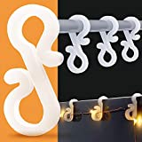 BININBOX Christmas Mini Gutter Hang Hooks Plastic S Sharped Christmas Light Clips for Outdoor Indoor Parties Decoration Strings Lights Use for Christmas, Halloween, New Year(100)