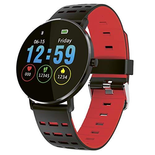 Fitnesstracker mit Herzfrequenz Puls Blutdruck Schlaf Schritte Farbdisplay Smartwatch Armband Uhr - 9706 (Rot/Schwarz)