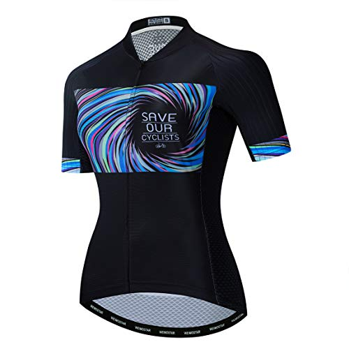 Weimostar - Maillot de ciclismo de verano para mujer, de poliéster transpirable,...