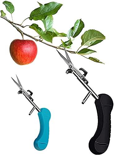 Portable Pointed Gardening Scissor with Safety Lock, Garden Shears for Grass Long Handle, Garden Scissors for Bushes, Flower Scissors, Operate with One Hand, Hand Pruner Ergonomic (Black)