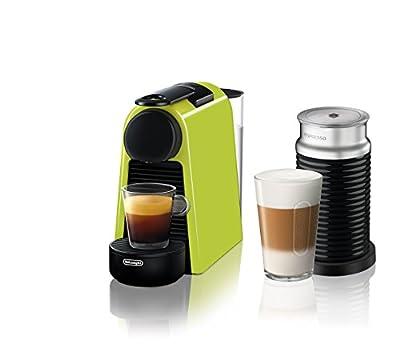 Nespresso Essenza Mini Original Espresso Machine Bundle with Aeroccino Milk Frother by De'Longhi, Lime