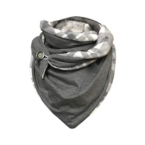 Women's Fall Winter Scarf Retro Multi-Purpose Wrap Shawl Button Scarf Warm Soft Triangle Scarves (GYB)