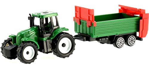 Toi-Toys kleintraktor mit Anhängern 4-teilig 7 cm grün/grau