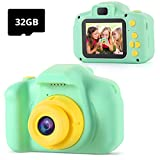 Kids Cameras,TekHome Digital Camera for Kids,Gifts for 3 4 5 6 Year Old Toddler Boys, Toys for Boys Age 3-8,1080P HD Children Video Camera Camcorder with 32GB SD Card-Green