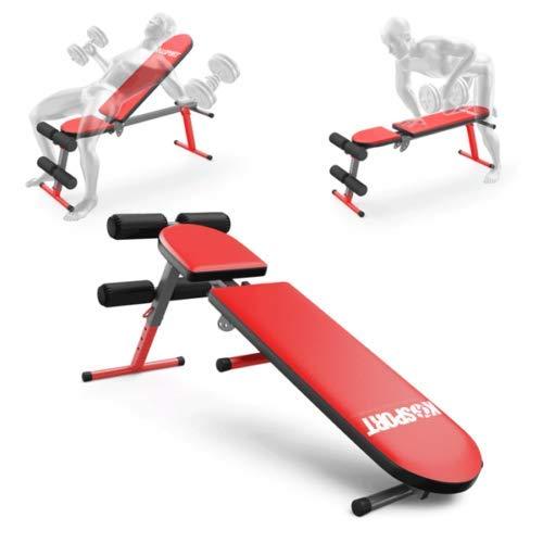 K-Sport Hantelbank, verstellbare Neigung, flache Trainingsbank, 90 Grad, aufrecht, Heimtraining, Sit-up, Fitnessbank
