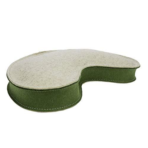 Cojín de yoga ebos de fieltro 100% lana merino con relleno de espelta orgánica en forma de croissant, media luna, altura del asiento 8 cm, aprox. 40x20 cm, hecho a mano