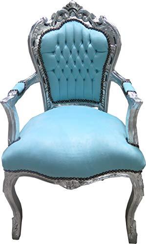 Casa Padrino Barock Esszimmer Stuhl mit Armlehnen Türkis/Silber - Möbel Antik Stil